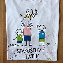 Oblečenie - Originálne maľované tričko pre TATIKA/OCKA so 4 postavičkami - 10798081_