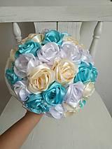 Kytice pre nevestu - Kytica z krémových a tyrkysových ruží - 10799539_