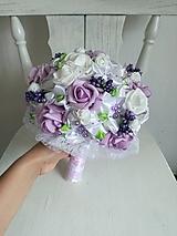 Kytice pre nevestu - Rozkvitnutá fialovo biela - 10799551_