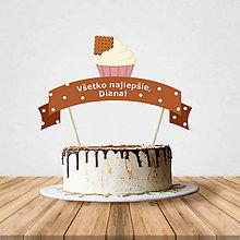 Dekorácie - Zápich na tortu - cupcake (čokoládový) - 10797197_