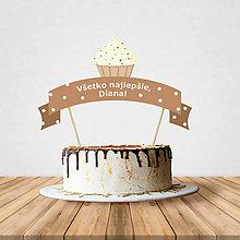 Dekorácie - Zápich na tortu - cupcake (stracciatella) - 10797200_