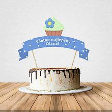 Dekorácie - Zápich na tortu - cupcake (kvetinkový) - 10797202_