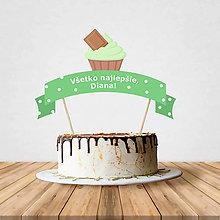 Dekorácie - Zápich na tortu - cupcake (čokoládovo- pistáciový) - 10797203_