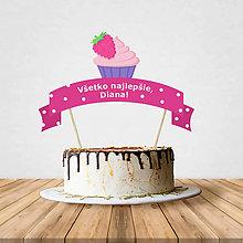 Dekorácie - Zápich na tortu - cupcake (malinový) - 10797204_
