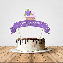 Dekorácie - Zápich na tortu - cupcake (čučoriedkový) - 10797205_