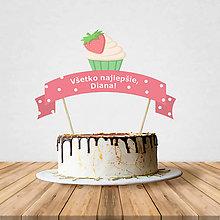Dekorácie - Zápich na tortu - cupcake (jahodový) - 10797206_