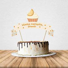 Dekorácie - Zápich na tortu - cupcake (pomarančový) - 10797207_