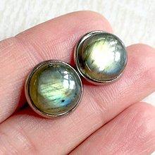 Náušnice - Labradorite Stud Stainless Steel Earrings / Náušnice s labradoritom z chirurgickej ocele - 10800093_