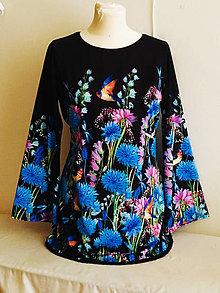 Tuniky - Dámská Tunika s modrymi květy - 10800141_