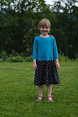 Šaty - Šaty modro-čierne srdiečkové pre malú i veľkú - 10800336_