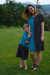 Šaty - Šaty modro-čierne srdiečkové pre malú i veľkú - 10800340_