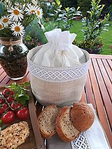 Úžitkový textil - Ľanový košík a vrecko v jednom na pečivo - 10800351_