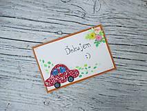 Papiernictvo - Pohľadnica Ďakujem s motívom auta - 10799925_