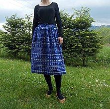 Sukne - Sukňa dlhá modrá čičmanský vzor - 10800613_