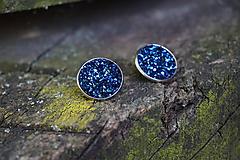 Náušnice - Napichovačky modré polnočné - 10800902_