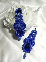Náušnice - Modré sujtaškové náušnice - 10801128_