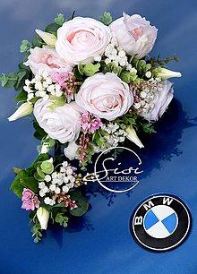 Kytice pre nevestu - Svadobná kytica + pierko z kvalitných umelých kvetov - 10800616_