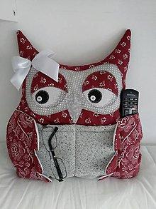 Úžitkový textil - vankusik sovicka  (Bordová) - 10800610_