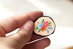 Odznaky/Brošne - Ručně malovaná brož s květy - lososová - 10802386_
