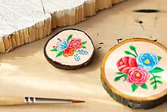 Odznaky/Brošne - Ručně malovaná brož s květy - lososová - 10802387_