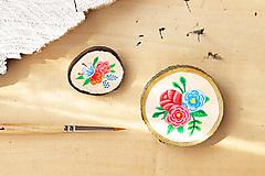 Odznaky/Brošne - Ručně malovaná brož s květy - lososová - 10802388_