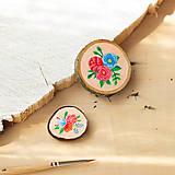 Odznaky/Brošne - Ručně malovaná brož s květy - lososová - 10802389_