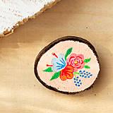 Odznaky/Brošne - Ručně malovaná brož s květy - lososová - 10802390_