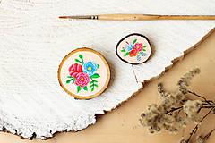 Odznaky/Brošne - Ručně malovaná brož s květy - lososová - 10802393_