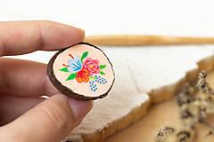 Odznaky/Brošne - Ručně malovaná brož s květy - lososová - 10802394_