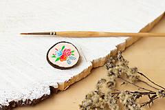 Odznaky/Brošne - Ručně malovaná brož s květy - lososová - 10802395_