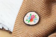 Odznaky/Brošne - Ručně malovaná brož s květy - lososová - 10802396_