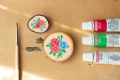 Odznaky/Brošne - Ručně malovaná brož s květy - lososová - 10802397_