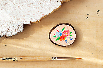 Odznaky/Brošne - Ručně malovaná brož s květy - lososová - 10802391_