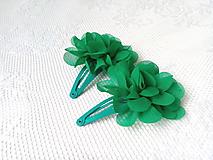 Ozdoby do vlasov - Kvetinkové sponky do vlasov (zelené) - 10801928_