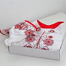 Oblečenie - Folk košeľa červeno čierna - 10801541_