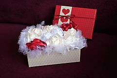 Dekorácie - Flower box krémovo-bordový - 10802468_