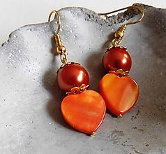 Náušnice - pomarančové srdcia - 10802657_