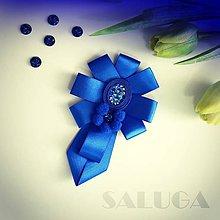Odznaky/Brošne - Dámsky motýlik - kráľovsky modrý - šujtáš - 10802291_