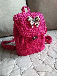 Batohy - Háčkovaný ruksak z textilnej priadze - 10802076_