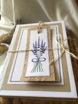 Papiernictvo - Levanduľová kytička - zápisník + záložka - 10802402_