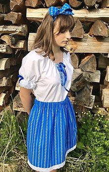 Šaty - Folklórny dámsky kroj tyrkysovo-modrý - 10802056_
