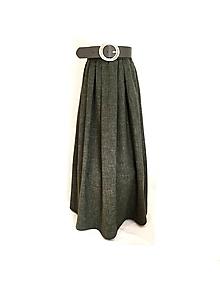 Sukne - ľanová olivová sukňa - 10802432_