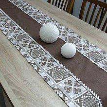 Úžitkový textil - MATÚŠ-krása tradície hnedá (1)-stredový obrus 160x40 - 10801282_