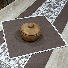 Úžitkový textil - MATÚŠ-krása tradície hnedá (1)-obrus štvorec 40x40 - 10801455_