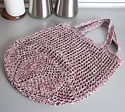 Nákupné tašky - Sieťovka strakatá bordová - 10801520_