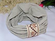 Šály - Ľanový nákrčník s ručnou výšivkou - 10801597_