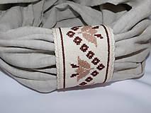 Šály - Ľanový nákrčník s ručnou výšivkou - 10801598_