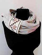 Šály - Ľanový nákrčník s ručnou výšivkou - 10801599_