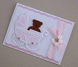 Papiernictvo - K narodeniu dievčatka - bledoružový kočík - 10802968_