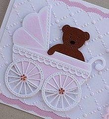 Papiernictvo - K narodeniu dievčatka - bledoružový kočík - 10802970_